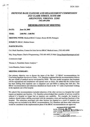 Primary view of object titled '[Memorandum of Meeting: Medical BRAC, June 24, 2005]'.