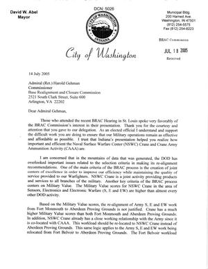 Primary view of object titled 'Letter from Mayor David W. Abel to Commissioner Gehman dtd 14 July 2005'.