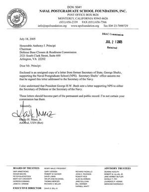 Primary view of object titled 'Letter from Admiral Henry H. Mauz Jr. to Chairman Anthony J. Principi dtd 18 July 2005'.