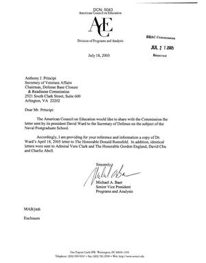 Letter from Michael A. Baer to Chairman Anthony J. Principi dtd 18 July 2005