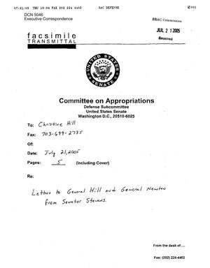 Primary view of object titled 'Executive Correspondence – Letter dtd 07/21/2005 to Commissioners General Newton and General Hill from Ted Stevens'.