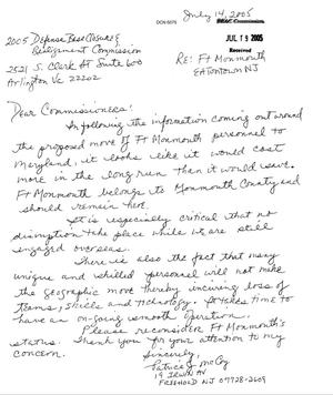 Primary view of object titled 'Letter from Patrice J. McCoy to the BRAC Commission dtd 14 July 2005'.