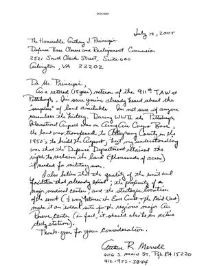 Primary view of object titled 'Letter from Authur R. Merrell to the BRAC Commission dtd 12 July 2005'.
