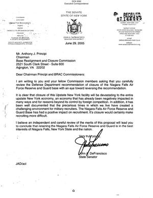 Primary view of object titled 'Executive Correspondence – Letter dtd 06/29/05 to Chairman Principi from NY State Senator John DeFrancisco'.