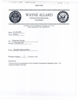 Primary view of object titled 'Letter from Colorado Senator Wayne Allard to Chairman Anthony J. Principi dtd 22 July 2005'.