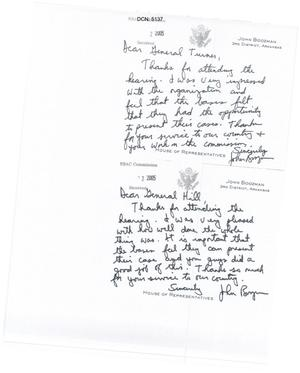 Primary view of object titled 'Letter from Congressman John Boozman to some of the Commissioners'.