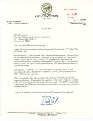 Primary view of object titled 'Letter from the City Council of Houston to the BRAC Commission dtd 15 July 2005'.