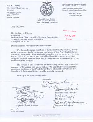 Primary view of object titled 'Letter from the Office of the county Clerk of Kauai to Chairman Anthony J. Principi dtd 14 July 2005'.