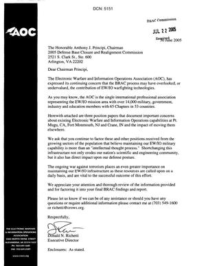 Primary view of object titled 'Letter from Donald N. Richetti (Executive Director for AOC) to Chairman Principi dtd June 30, 2005'.
