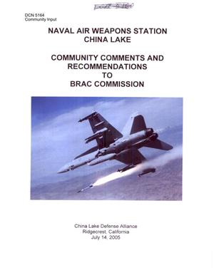 Primary view of object titled 'Community Input – Naval Air Weapons Station China Lake'.