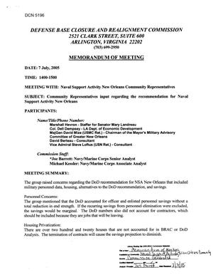 Primary view of object titled '[Memorandum of Meeting: Naval Support Activity New Orleans, Louisiana, July 7, 2005]'.