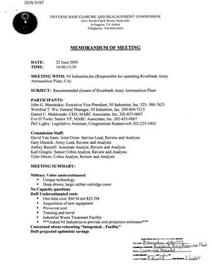 Primary view of object titled '[Memorandum of Meeting: Riverbank Army Ammunition Plant, California, June 22, 2005, Part 1]'.