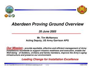 Primary view of object titled 'Aberdeen Proving Grounds Garrison Overview'.