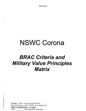 Primary view of object titled 'State Input - NSWC Corona Brac Criteria and Military Value Principles Matrix'.