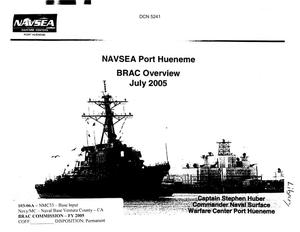 Primary view of object titled 'Base Input - NAVSEA BRAC Overview Port Hueneme'.