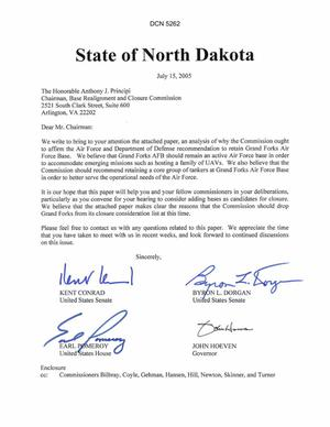 Primary view of object titled 'State of North Dakota Input to the Commission Regarding Grand Forks AFB, dtd 15 Jul 05'.