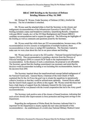 BRAC 2005 Briefing to the Secretary of Defense Briefing Minutes of May 10,2005