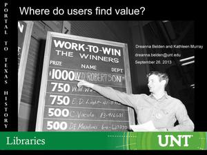 Primary view of object titled 'Where do users find value?'.