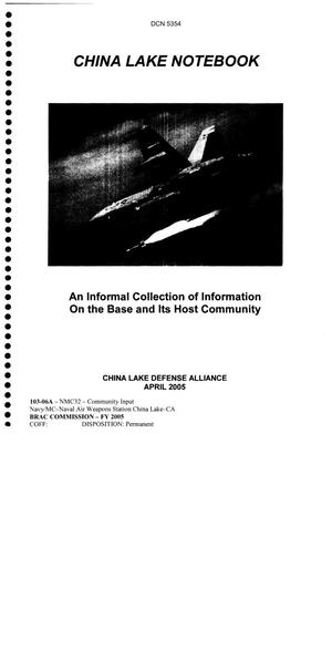 Primary view of object titled 'Community Input  - China Lake Notebook'.