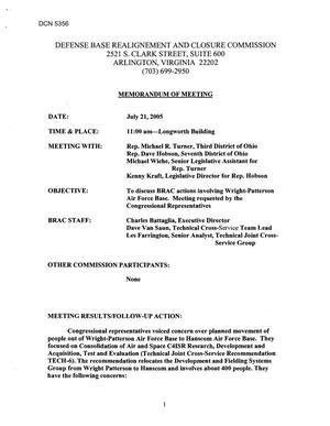 Primary view of object titled '[Memorandum of Meeting: Wright-Patterson Air Force Base, Ohio, July 21, 2005]'.