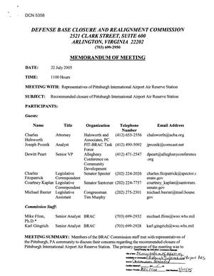 Primary view of object titled '[Memorandum of Meeting: Pittsburgh International Airport Air Reserve Station, Pennsylvania, July 22, 2005]'.