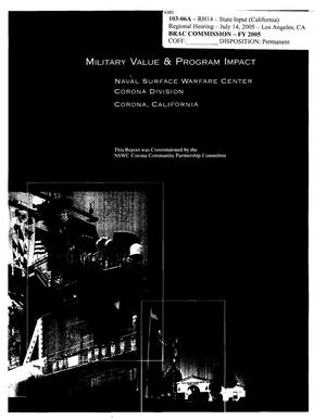 Primary view of object titled 'Military Value and Program Impact Book for NSWC Corona'.
