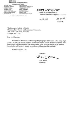 Primary view of object titled 'Executive Correspondence – Letter dtd 07/22/2005 to Chairman Principi from Sen. John Warner'.
