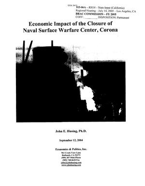Primary view of object titled 'Economic Impact of the Closure of NSWC Corona'.