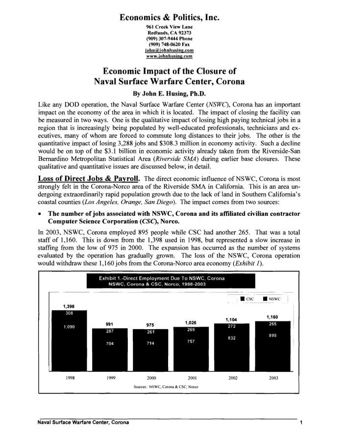 Economic Impact of the Closure of NSWC Corona, Sequence: 5 | UNT ...