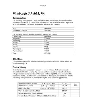 Primary view of object titled 'Pittsburgh IAP AGS, Pennsylvania Instatllation Profile'.