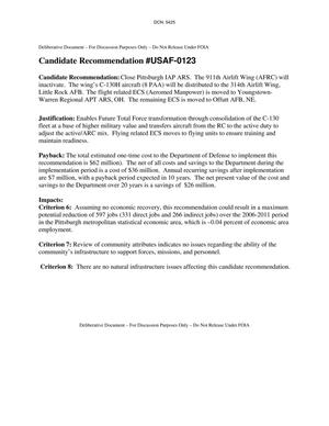 Primary view of object titled 'Candidate Recommendation #USAF-0123 for Pittsburgh IAP ARS.'.
