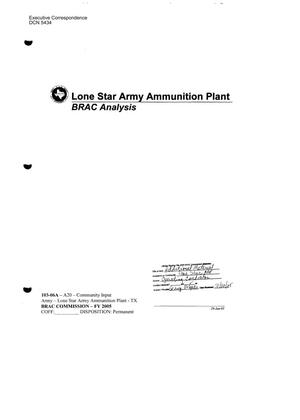 Primary view of object titled 'Executive Correspondence-Lone Star Army Ammunition Plant – BRAC Analysis'.