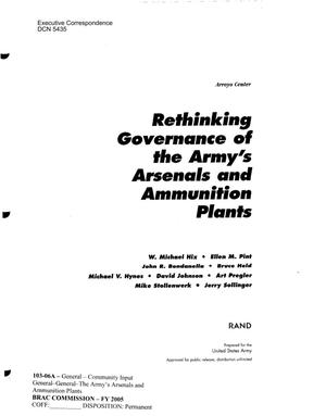 Primary view of object titled 'Executive Correspondence -Rethinking Governance of the Army's Arsenals and Ammunition Plants'.
