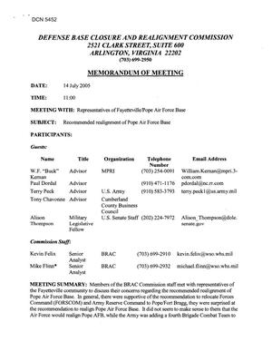 Primary view of object titled '[Memorandum of Meeting: Pope Air Force Base, North Carolina, July 14, 2005]'.