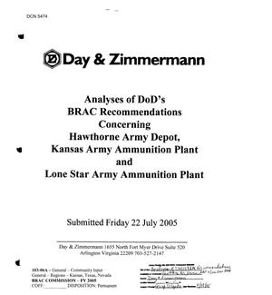 Primary view of object titled 'Community Input - Analyses of DoD's BRAC Recommendations Concerning Hawthorne Army Depot, Kansas Army Ammunition Plant and Lone Star Army Ammunition Plant'.