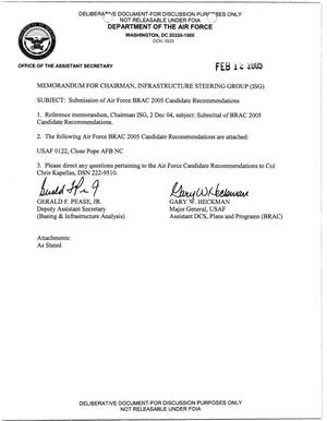 Primary view of object titled 'BRAC Transmittal Candidate Recommendation Letter USAF 0122'.