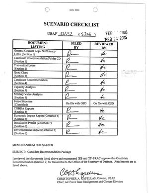 Primary view of object titled 'Pope Air Force Base Scenario Checklist USAF 0122'.