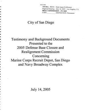 Primary view of object titled 'City of San Diego testimony and background documents 2005 BRAC'.