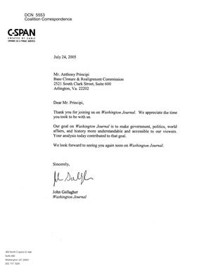 Primary view of object titled 'Coalition Correspondence – Letter dtd 07/24/2005 to Chairman Principi from John Gallagher of C-SPAN'.