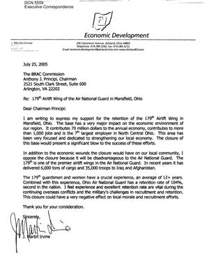 Primary view of object titled 'Executive Correspondence – Letter dtd 07/25/2005 to Chairman Principi from J. Martin Irvine'.
