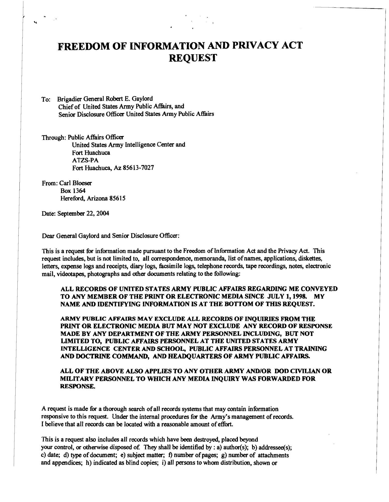 munity Correspondence Letter from Carl Bloeser Ft Huachuca