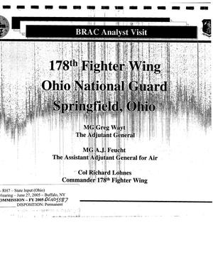 Primary view of object titled 'Regional hearing state Input for the 178th Fighter Wing, Ohio National Guard'.