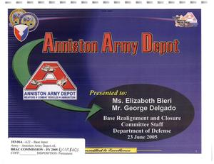 Primary view of object titled 'Anniston Army Depot Base Input'.