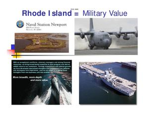 Primary view of object titled 'Rhode Island = Military Value'.