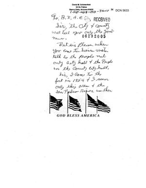 Primary view of object titled 'Community Correspondence  -   Letters from Concerned Citizens - Ft Huachuca, AZ'.