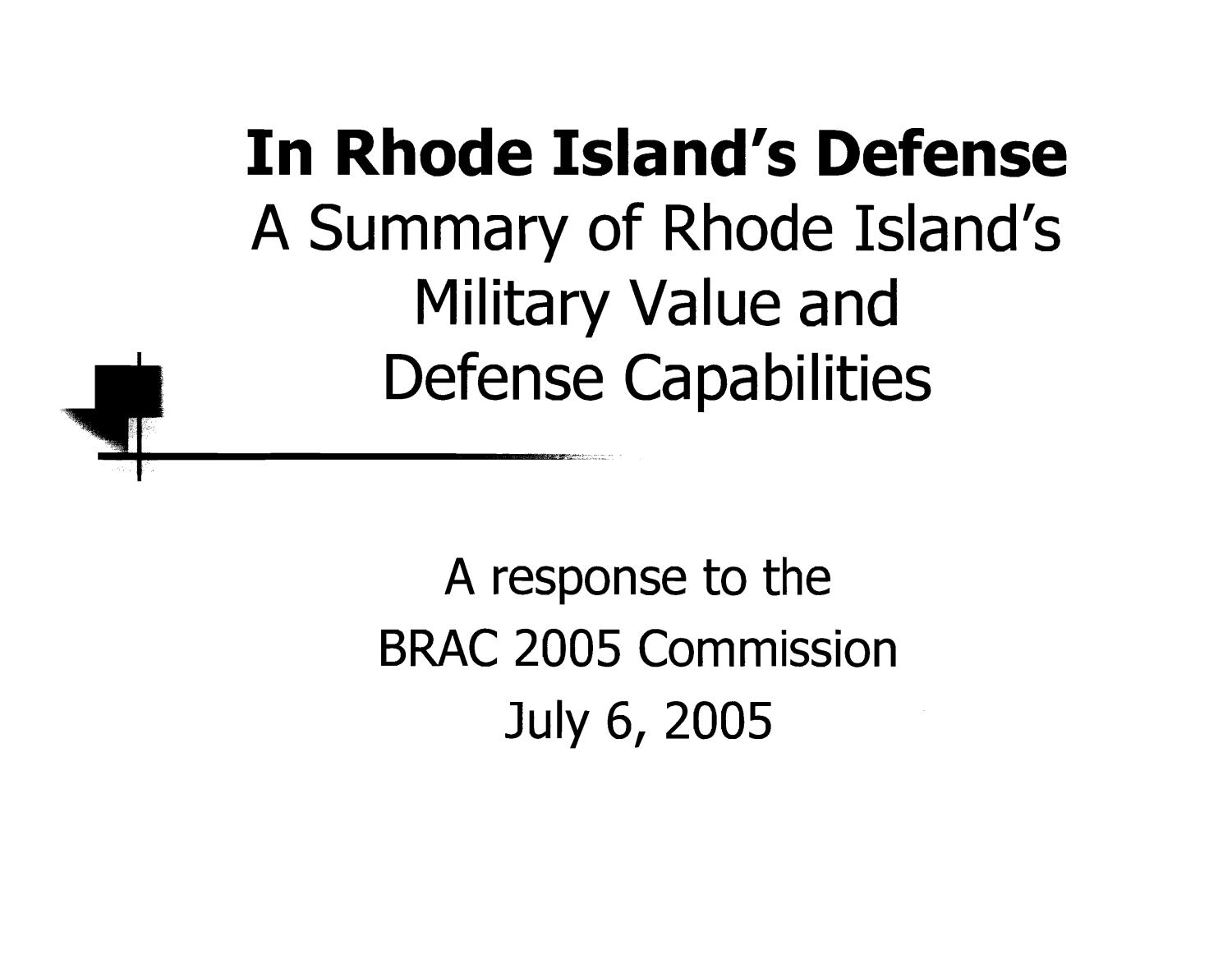 Rhode Island = Military Value Slide Show                                                                                                      [Sequence #]: 2 of 14