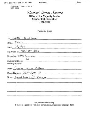 Primary view of object titled 'Executive Correspondence – Letter dated 07/25/2005 to all Commissioners from Sen. William Frist'.