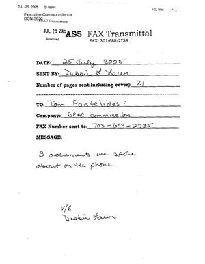 Primary view of object titled 'Executive Correspondence – Letter dated 07/25/2005 to Tom Pantelides from Debbie Lauer'.