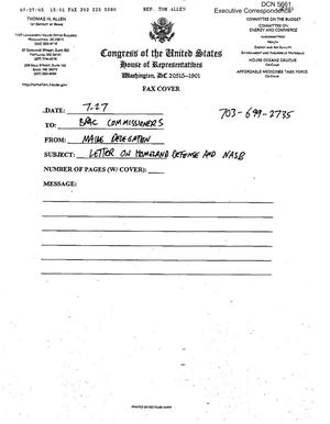 Primary view of object titled 'Executive Correspondence – Letter dated 07/27/2005 to all Commissioners from the Maine Delegation'.