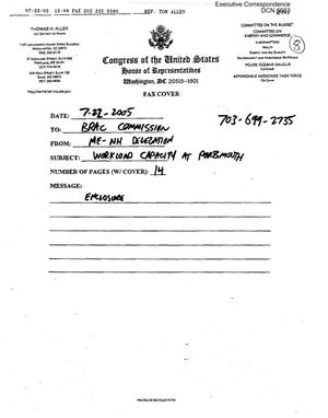 Primary view of object titled 'Executive Correspondence – Letter dated 07/22/2005 to all Commissioners from the Maine – New Hampshire Delegation'.
